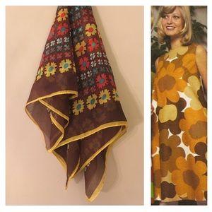 Vintage Sheer Floral 1970's Scarf Brown Yellow